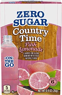Country Time On-The-Go Zero Sugar Pink Lemonade Powdered Drink Mix, 6 ct - Packets