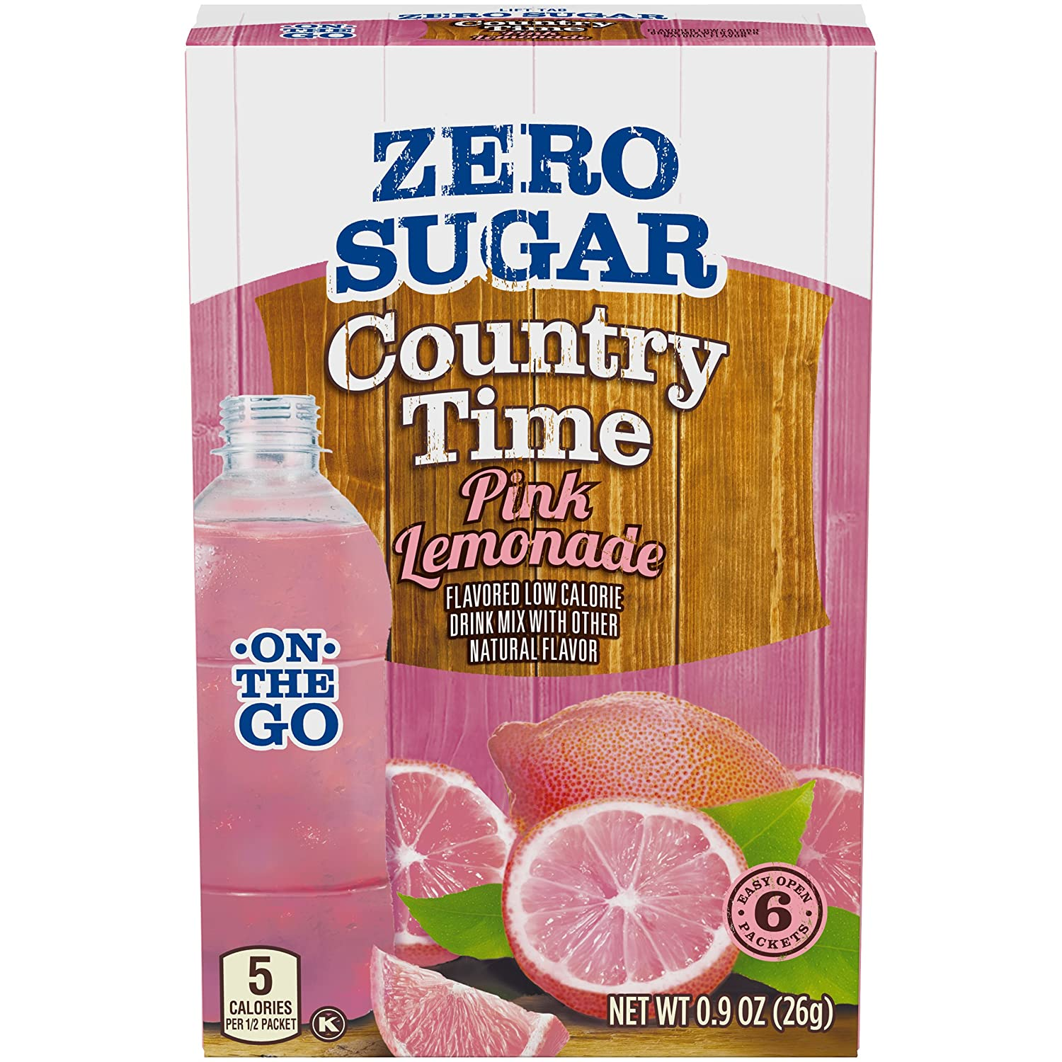 Country Time Sugar-Free Pink Lemonade Powdered Drink Mix (72 On-the-Go Packets, 12 Packs of 6)