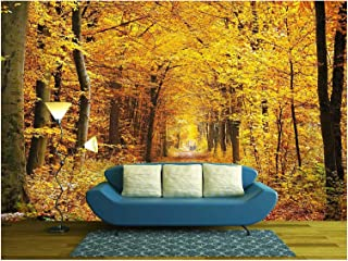 wall26 - Road in the autumn forest - Removable Wall Mural | Self-adhesive Large Wallpaper - 100x144 inches