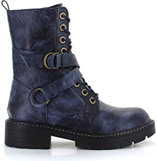 Seven7 Women's Combat Boot Cardi B Lace-Up Vegan Leather Lugged Rubber Platform with Buckle Straps Trendy Boot