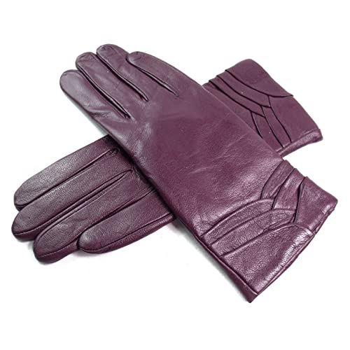 0d4c429a55783 Ladies Soft Genuine Leather Lined Gloves Overlap Detail