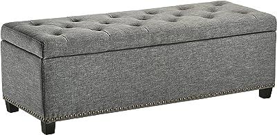 First Hill Thomas Rectangular Storage Ottoman Bench, Large, Stone Grey
