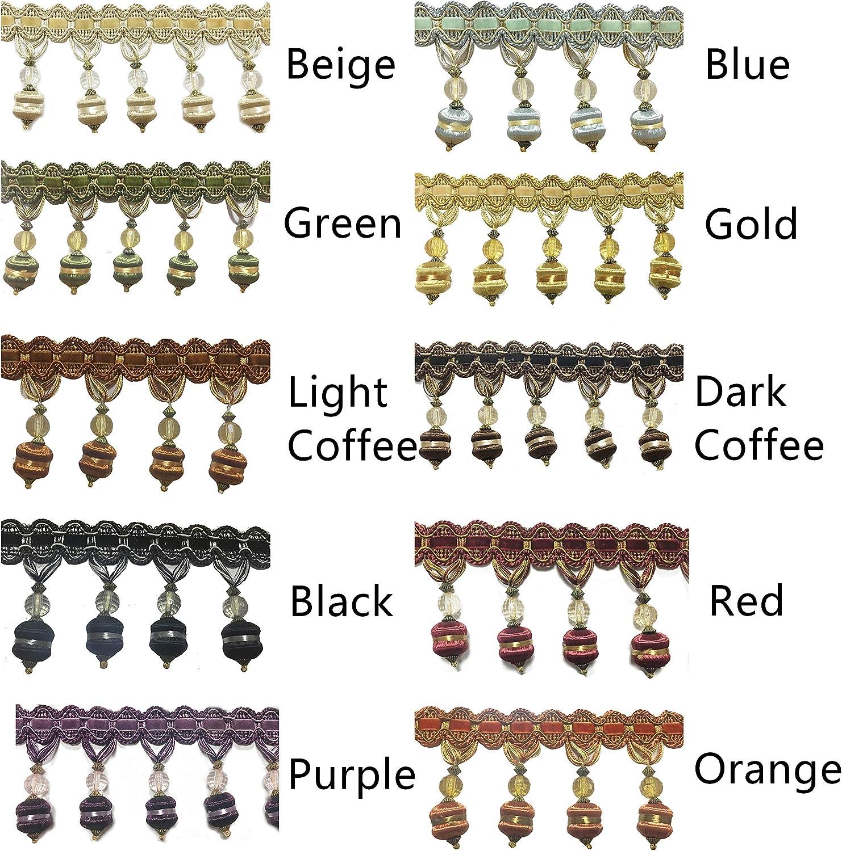 BEL AVENIR Fringe Trim 6.8 Yards 3 inch Crystal Beaded Luxury Handmade Hanging Ball Sewing Crafts/DIY/Crafts Decoration/Embellishments Beige