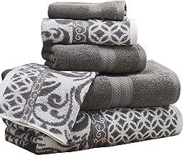 Amrapur Overseas   Trefoil Filigree 6 Piece Reversible Yarn Dyed Jacquard Towel Set (Platinum)