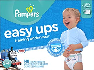 Pampers Easy Ups Training Pants Pull On Disposable Diapers for Boys Size 5, 3T-4T (148 Count), ONE MONTH SUPPLY