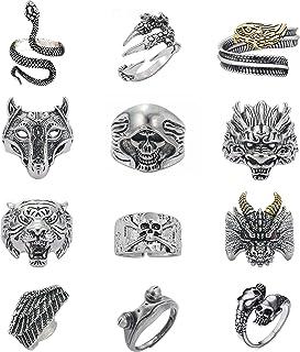 Lezmoii 12 Pcs Goth Punk Adjustable Rings for Men Women Vintage Frog Snake Skull Dragon Tiger Wolf Ring Set Silver