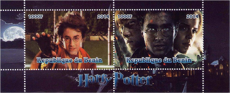 Harry-Potter- Briefmarke Doppel Block - 2 Briefmarken 2014   Republik Benin   MNH B00NPTYIM4  | Tragen-wider