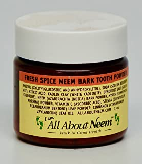 Neem Bark Tooth Powder CINNAMON SPICE With Myrrh 1 oz Travel Size - All Natural Flavor & Ingredients - 75+ Brushings Per Jar! No Flouride. Made in America.