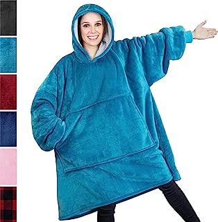 PAVILIA Premium Blanket Sweatshirt with Sherpa Lining   Super Soft, Warm, Reversible Hoodie Blanket for Adults Men Women Girls Boys Kids   Giant Hood, Oversized Fleece Pullover with Pocket(Turquoise)