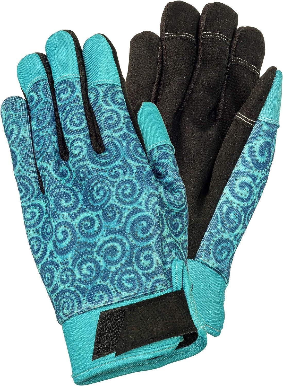 Laurel Burch Teal Swirl Print Medium Size Garden Work Gloves