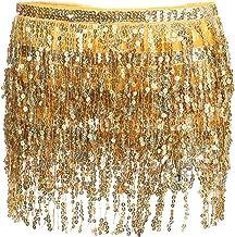 Glamaker Women's Summer Beach Wrap Sequins Tassel Mini Skirts Belly Dance Hip Scarf Belt