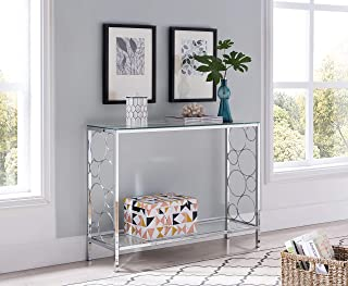 Chrome Finish Glass 2-Tier Contemporary Console Sofa Table with Lower Shelf and Circle Designs
