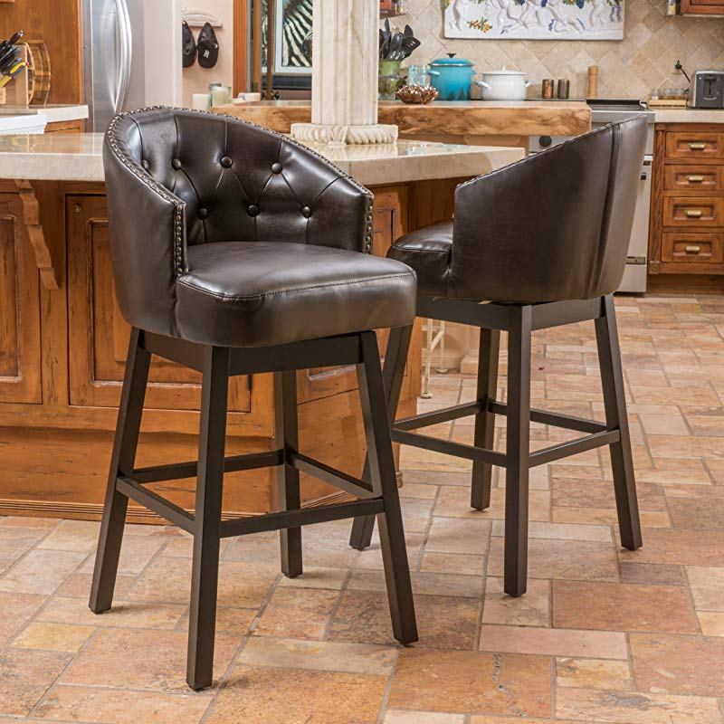 Christopher Knight Home 295978 OGDEN KD SWIVEL BARSTOOL Brown