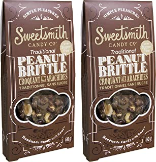 Sweetsmith Candy Co. Sugar-Free Peanut Brittle – Keto-Friendly, Diabetic-Friendly, Celiac-Safe – Low Glycemic Index, Low Net Carb, Low Carb, Gluten-Free (Sugar Free Peanut Brittle, 2 Pack)