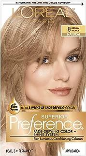 L'OrÃal Paris Superior Preference Fade-Defying + Shine Permanent Hair Color, 8 Medium Blonde, Hair Dye Kit (Pack of 1)