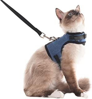 SCENEREAL Escape Proof Cat Harness and Leash - Adjustable Soft Mesh Vest Harness for Rabbits Puppy Kittens, M