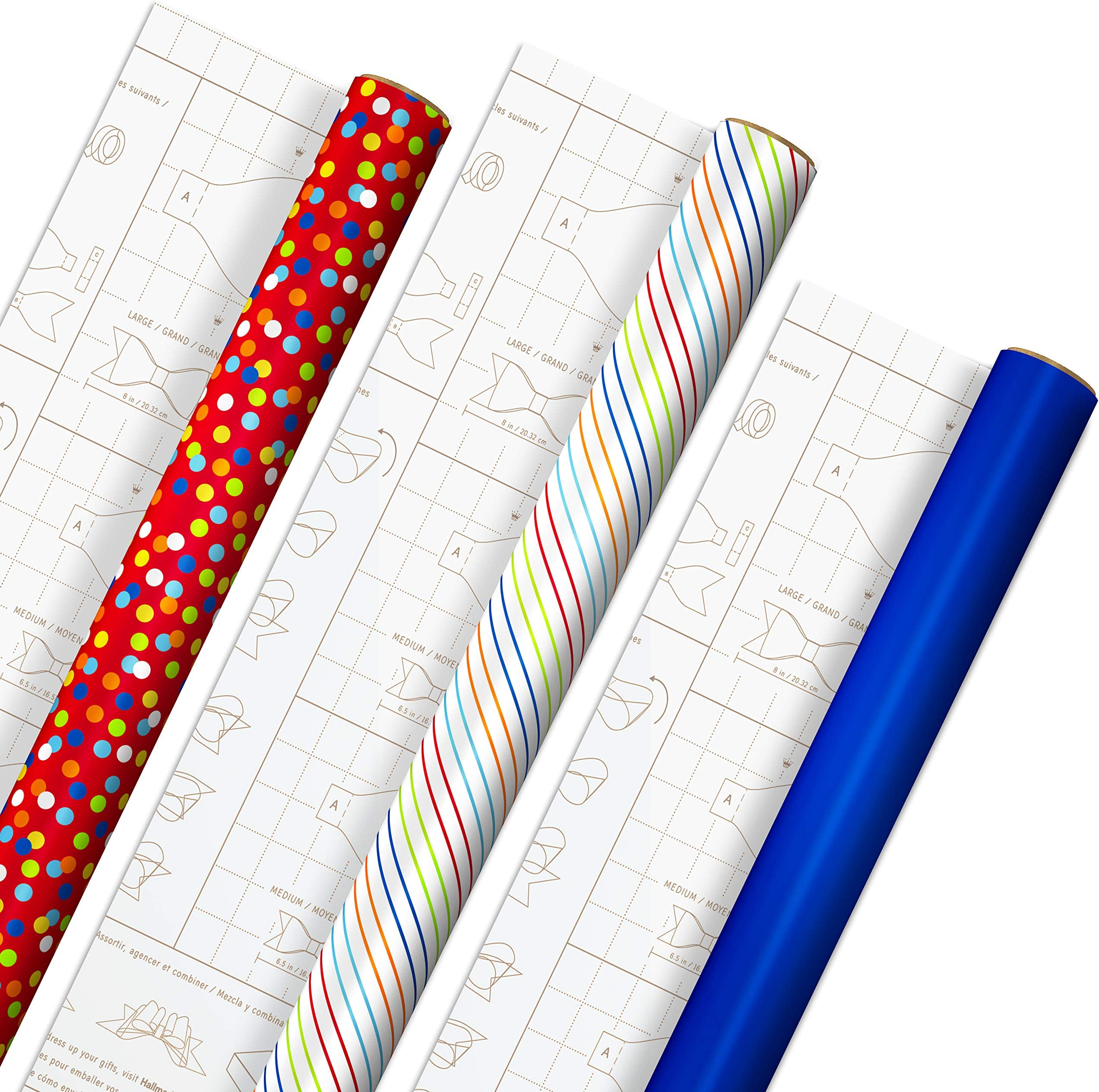 Hallmark Birthday Wrapping Paper with Templates for Handmade Bows on Reverse (3-Pack: 75 sq. ft. ttl) Royal Blue, Rainbow Stripes, Colorful Confetti