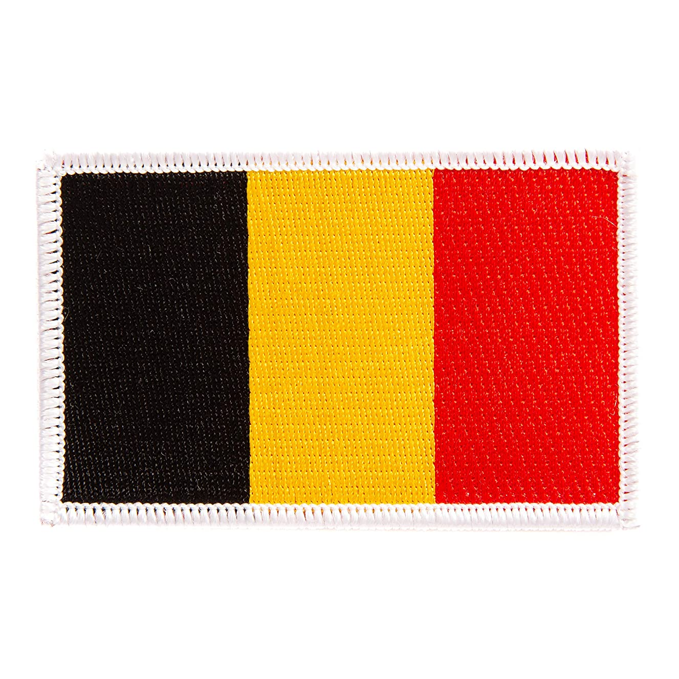 Belgium Flag Patch Single 3.5Wx2.25H Iron On Sew Embroidered Tactical Morale Back Pack Hat Bags (Single Patch)