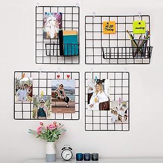 Paquete De 4 Rejilla Decoracion Pared | Rejilla Pared Para Mostrar Fotos | Paneles De Metal, Negro Y Magnético | Organizad...