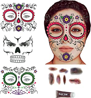 Day of the Dead Sugar Skull Temporary Face Tattoos Bloody Scars Body Tattoo and Fake Blood Makeup Kit