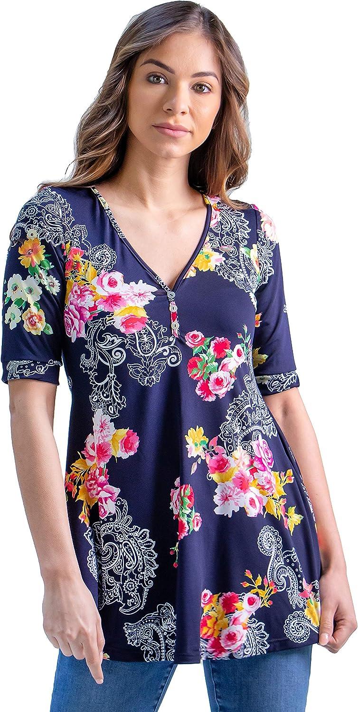 24seven Comfort Apparel Sale item Flared Black T Print Elbow Sleeve Dedication Floral