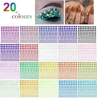 Phogary Self-Adhesive Rhinestone Sticker 3300 Pieces Crystal in 4 Size 20 Colors Bling Craft Jewels Gem Stickers for Crafts, Body, DIY Nails, Festival, Carnival, Makeup