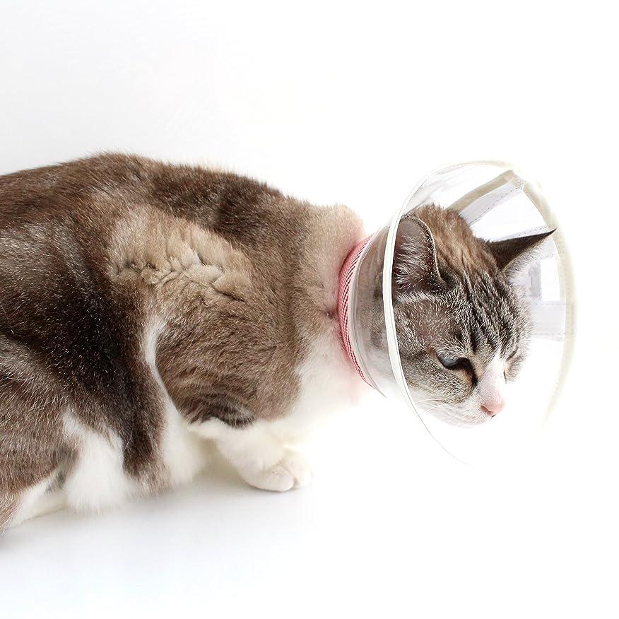 あまりにも報復する倒産透明クリア SSサイズ 猫用ソフト素材エリザベスカラー (チェック?レッド)