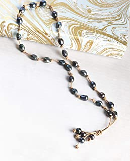 Tahitian style Black Freshwater pearl nuggets on Leather tan Y necklace, Third 3rd anniversary gift of jewelry for wife girlfirnd. Present for sister mom aunt best friend. romantic no metal or clasp.