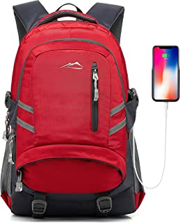 Backpack for School College Student Bookbag Business Laptop Travel with USB Charging Port Chest Luggage Straps Night Light Reflective (Red)