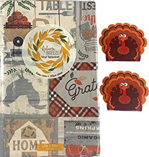 Fall Decor Farmhouse Flannel Vinyl Tablecloth: Country Rustic Farm to Table Pickup Truck Plaids Rooster Vintage Signs, Gre...