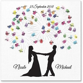 Madyes Leinwand Hochzeit Fingerabdruck Gästebuch