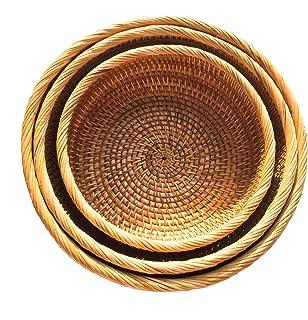 Handmade Rattan Fruit Bowls, Handwoven Multi-purpose Storage Baskets, Round, Natural Rattan, Set of 3 Different Sizes