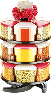 Optimus 360° Spice Rack Set of 18 Piece 3 Layer Spice Set -Plastic (White and Pink-18)