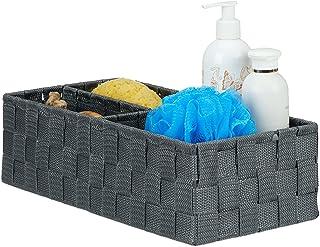 Relaxdays Panier de rangement petite corbeille déco étagère 3 compartiments salle de bain HxlxP: 10x35x17 cm, gris