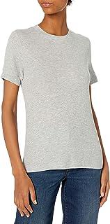 Daily Ritual Camisa de Manga Corta con Cuello Redondo Acanalado de Licra de rayón Camisa para Mujer