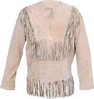 c492ef740343 Baba Geniuse International Men s Western Shirt Suede Leather Cowboy Style Jacket  with Fringe Size Small to