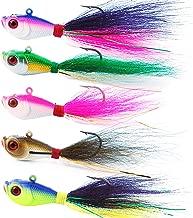 AGOOL 4 PCS Bucktail Jig Fluke Lure Saltwater Freshwater Baits Assorted Kit Bass Striper Bluefish Surf Fishing Lure 0.25 oz, 0.5oz, 1 oz, 1.5 oz, 2 oz