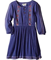 Lucky Brand Kids - Rayon Crinkle Gauze Embroidered Dress and Three-Button Closure (Little Kids)