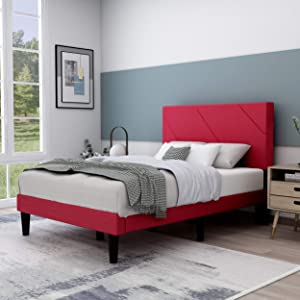 Upholstered Platform Bed Frame with Headboard, Mattress Foundation/Wood Slat Support/No Box Spring Needed/Easy Assembly,Red,Full