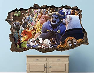 Zootopia Wall Decal Sticker - Kids Wall Decal Decor - Art 3D Vinyl Wall Decal - AH457 (Small (Wide 22