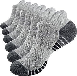 Tmani Mens Running Socks, 6 Pairs Womens Trainer Socks Anti-blister Odor-free Cushioned Sports Socks Cotton Gym Socks Walk...