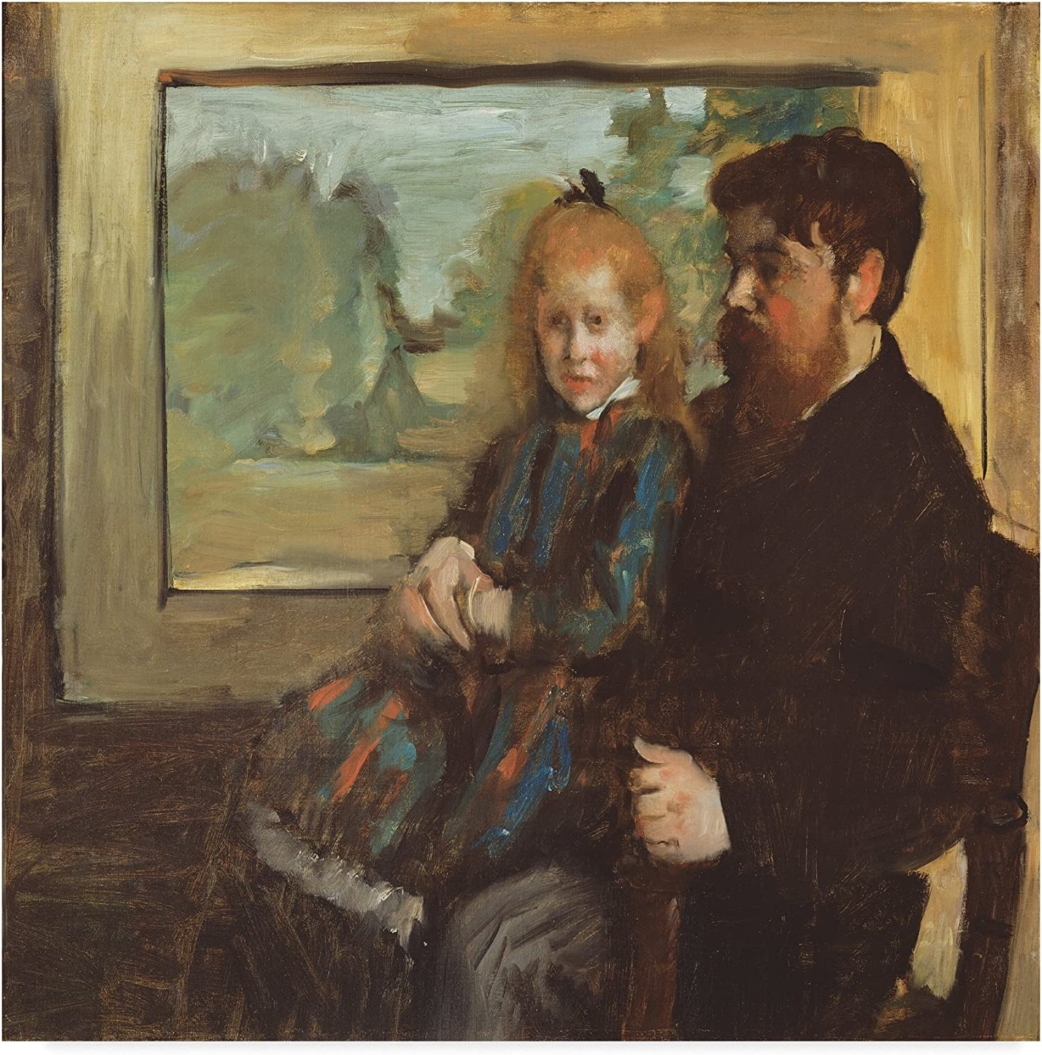 Trademark Fine Art Henri Rouart and His Daughter Helene by Edgar Degas, 14x14, Multicolor