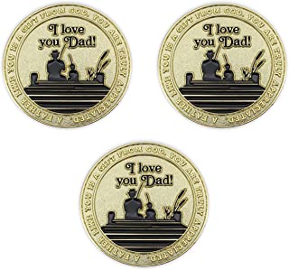 Father's Coin, I Love You Dad Token of Appreciation, Bulk Pack of 3, Gold Plated Challenge Coin, Proverbs 20:7, Man of Go...