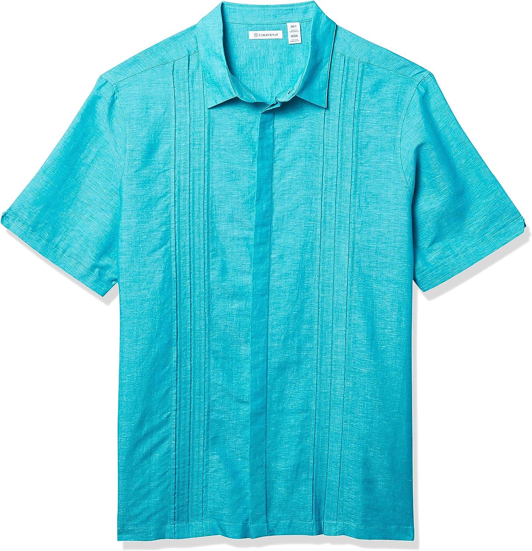 Cubavera Men's Two-Tone Triple Tuck Panel Short Sleeve Button-Down Shirt