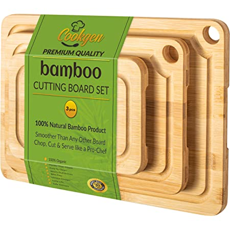 Cookgen Bamboo Cutting Board With Juice Groove (3-Pcs set), Sturdy Chopping Board, Pre-Oiled Wood Cutting Board for kitchen, Large Cutting Board Set