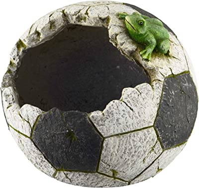Red Carpet Studios 20133 Indoor/Outdoor Shaped Resin Planter, Soccer Ball White