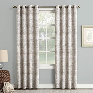 Sun Zero Darren Distressed Woven Jacquard Blackout Grommet Curtain Panel