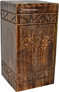 Hind Handicrafts Antique Cross Urns for Human Ashes Adult, Rosewood Cremation Urns for Ashes, Burial Urns for Columbarium, Wooden Box Funeral Urns for Human Ashes Large - 250 Cu/in