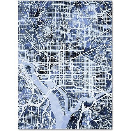 Washington Dc Street Map By Michael Tompsett 24x32 Inch Canvas Wall Art Posters Prints