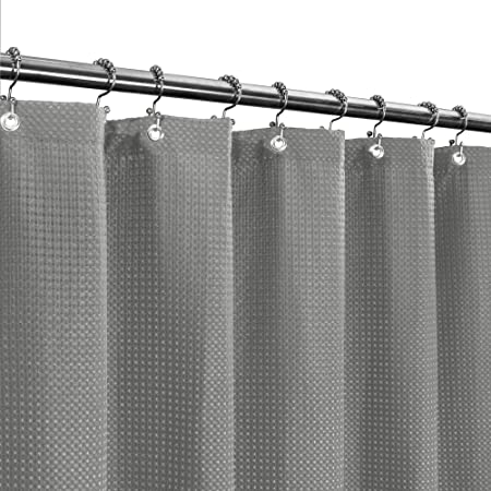stall shower curtain fabric 36 x 72 inches waffle weave hotel luxury spa 230 gsm heavy duty water repellent gray pique pattern decorative
